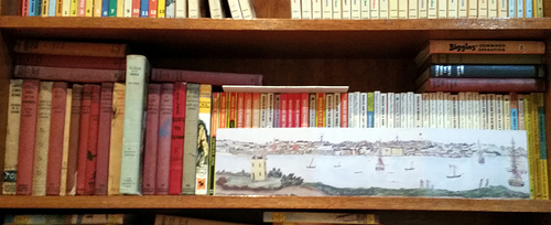 A row of books on a shelf - Biggles.