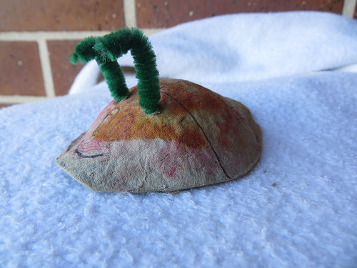 handmade snail crafted by a 2 year old boy.