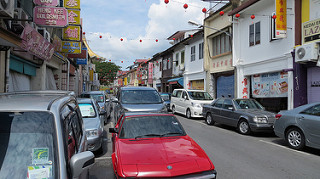 lots of cars on the road in Borneo