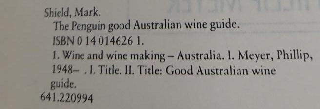 Wine Guide Bibliographic data
